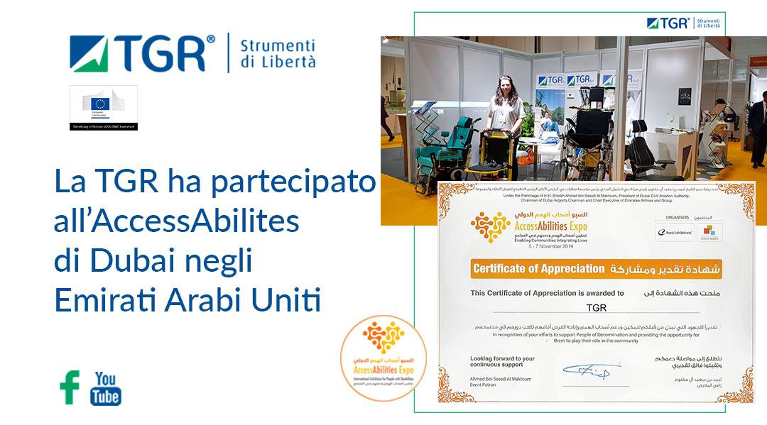 La TGR ha partecipato all'AccessAbilites di Dubai negli Emirati Arabi Uniti